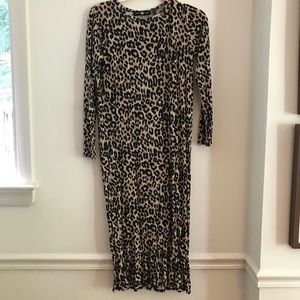 Leopard jersey midi dress